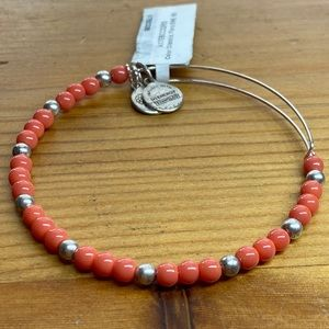 Alex and Ani Orange and Silver Beaded Bangle NWT